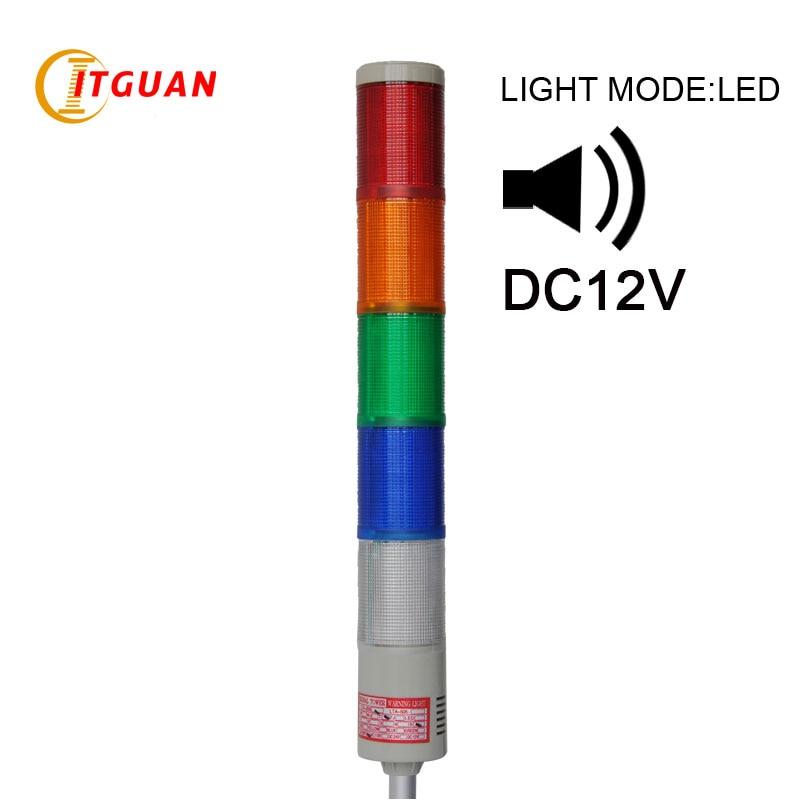 LTA-505J-5 DC12V 5 Layer LED warning tower light steady Round Bottom with sound 90dB