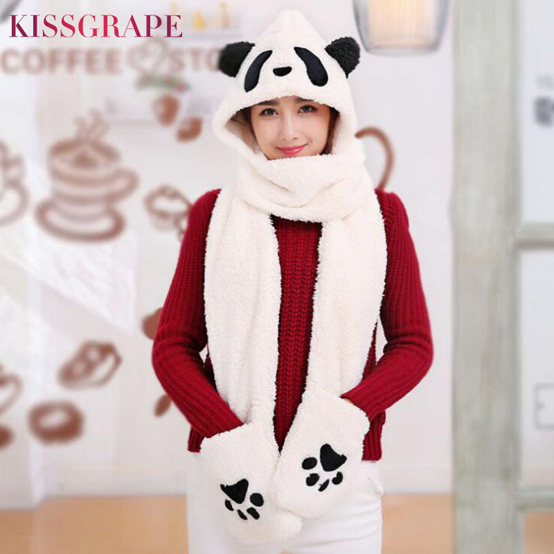 New Winter Warm Cute Panda Caps For Women Ladies Party Hat Scarf Gloves Sets Female Thickening Warm Gloves With Paws Cute Caps