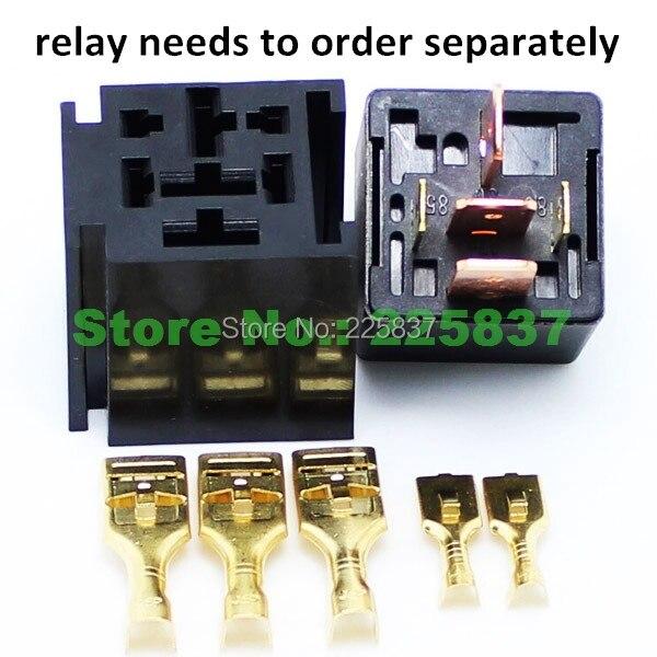 Бесплатная доставка (5 шт./лот) огнеупорное автомобильное релейное основание с кабелем 12 В 5Pin разъемом для сверхмощного 5p 80A автомобильное ре...