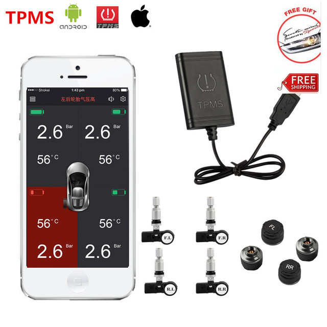TPMS586-89W Bluetooth 4.0 TPMS Система Мониторинга Давления Автошины Для Android IOS IPhone Телефон С 4 Внутренних или Внешних Датчиков