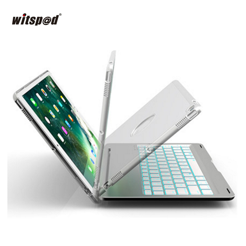 witsp@d-For IPAD PRO 10.5 Inch Case Luxury Keyboard, 7 Colors Backlit  Smart Folio Case Cover Wireless Bluetooth Metal Keyboard