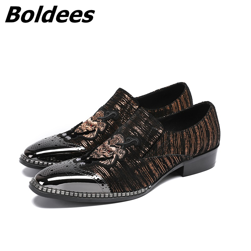 Boldees Trendy Designer Mens Dress Shoes Casual Patchwork Suede Patent Leather Embroidery Wedding Shoes Men Business Loafers Hot