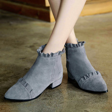 Spring Autumn Flounced Ankle Boots Low Heel Comfort Natural Leather Female Footwear Brand Designer Winter Short Booties Shoes