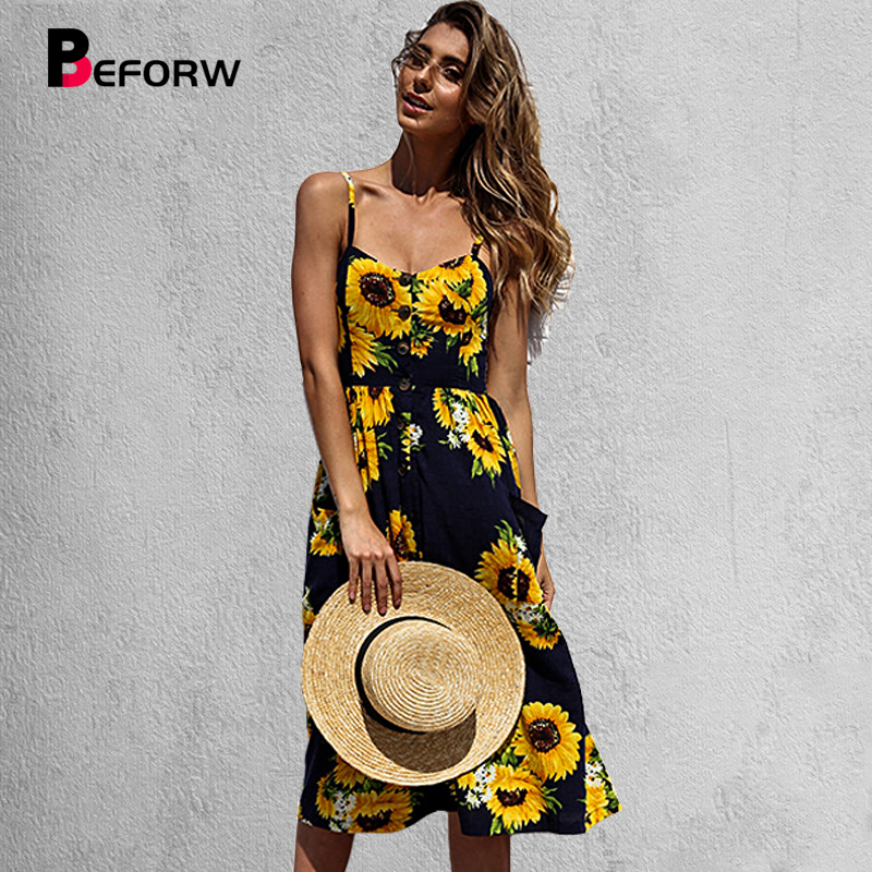 BEFORW Women's Sexy Summer Backless Button Down Striped Print Swing Midi Dress With Pockets 2018 White Boho Vintage Beach Dress