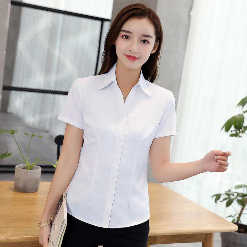 安いプラスサイズ 4XL 5XL 夏の女性のシャツ 2019 新半袖 ol エレガントトップスやブラウス白シャツオフィス作業服