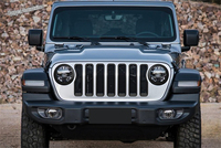 Lapetus Front Grille Grill + Front Head Lights Lamp Ring Cover Accessories Exterior Trim ABS For Jeep Wrangler JL 2018