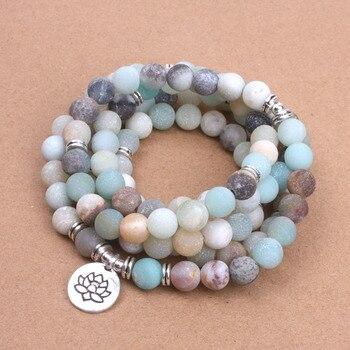Bracelet en perles d'amazonite givrées avec médaillon – Lotus