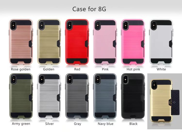 Cases for iphone 6 6s 7 8 plus Carbon Fiber Brushed Wire Drawing Silicone for iphone X Mobile Phone Shell