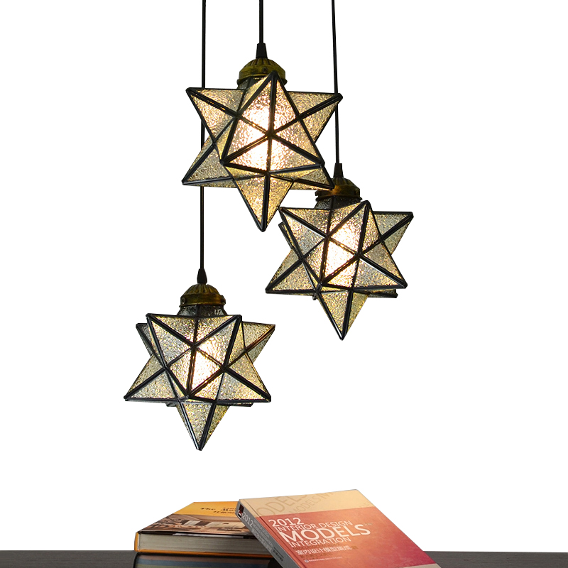 Loft Vintage Ceiling Lamp five-pointed star Pendant Light restaurant dining room living room bedroom lighting bar cafe club crea loft edison vintage retro cystal glass black iron light ceiling lamp cafe dining bar hotel club coffe shop store restaurant