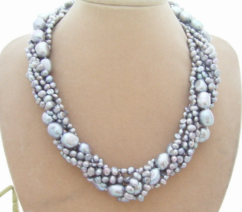 Long 6 Strds natural authentic Grey Baroque Pearl Necklace 18