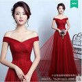 LAKD0322#The bride Mary toast party prom dresses 2017 new coltsfoot Off Shoulder long red evening dress wholesale and reatail