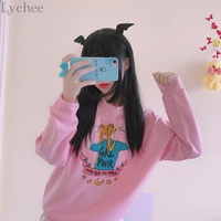 Lychee Harajuku Spring Autumn Women Sweatshirt Sailor Moon Girl Power Cartoon Letter Print Long Sleeve Pullover Tracksuit