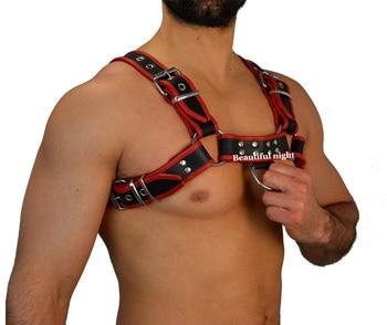 Men Lingerie Leather Wetlook Costume Clubwear,Red&Black Leather Restrain Chest Harness Strap,BDSM Bondage Accessories 1