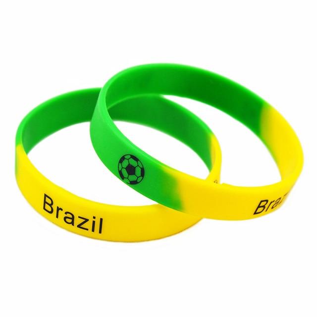 7a4043af923d OneBandaHouse 50 unids lote equipo de fútbol pulsera de silicona logotipo  impreso Francia Brasil