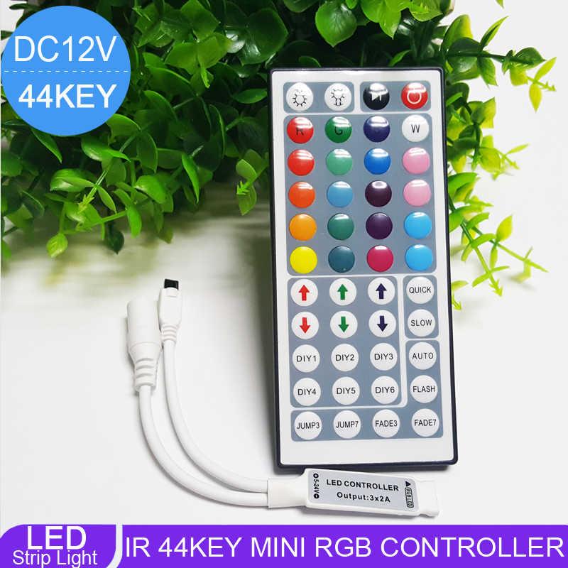 Kontroler taśmy Led 24 klucz 44key światła Led kontroler pilot zdalnego sterowania na podczerwień Led RGB kontroler ściemniacz DC12V 6A dla RGB 3528 5050 taśmy LED