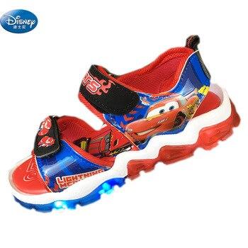 Disney Crianças Carros Sandálias Com Luz Led Mcqueen Desenhos Animados Sapatos De Verão Crianças Plutônio Esporte Praia Sapatos Europa Tamanho 26-31