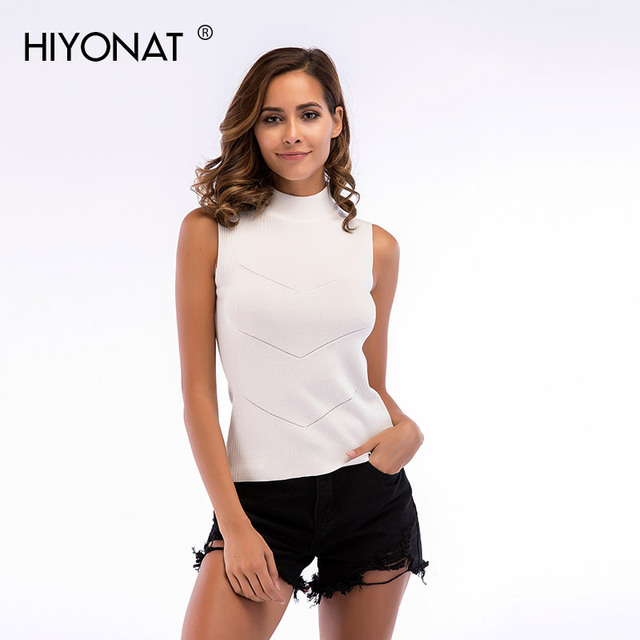 Hiyonat Women Turtleneck Sleeveless Sweater Tank Summer Slim Fit Basic Solid Knitted Tank Tops Pullover Female Plus Size Camis