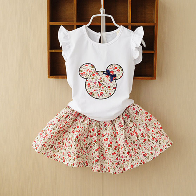 Retail 2017 Summer New Kids Girls Clothing Set Mickey Bear Tops + Floral Dress Girls Suits Set Summer Children Girl Clothes retail 2014 2pc baby girls kids rabbit tops dot denim overalls dresses outfit clothes children s clothing set suits