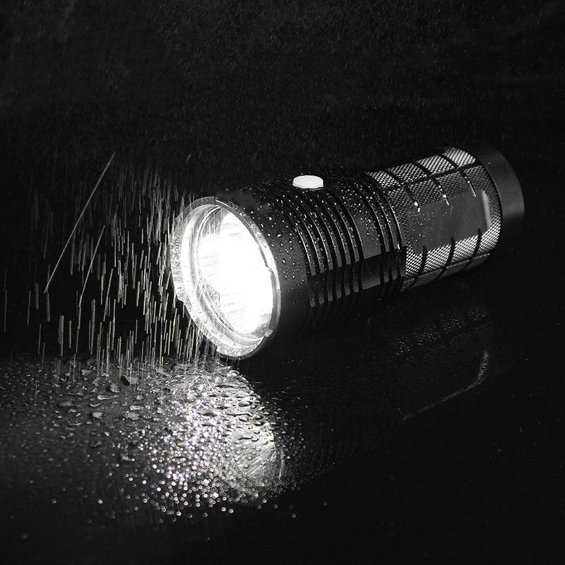 JIGUOOR Q8 4x XP-L 5000LM Super Bright LED Flashlight IPX-8 Waterproof Powerful Professional Multiple Operation Procedure 18650