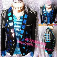 New Male Singer Blazer Rock Performance Outerwear Men's Luxury Handmade Slim Jacket Stage Sequins Mirrors suit Costume