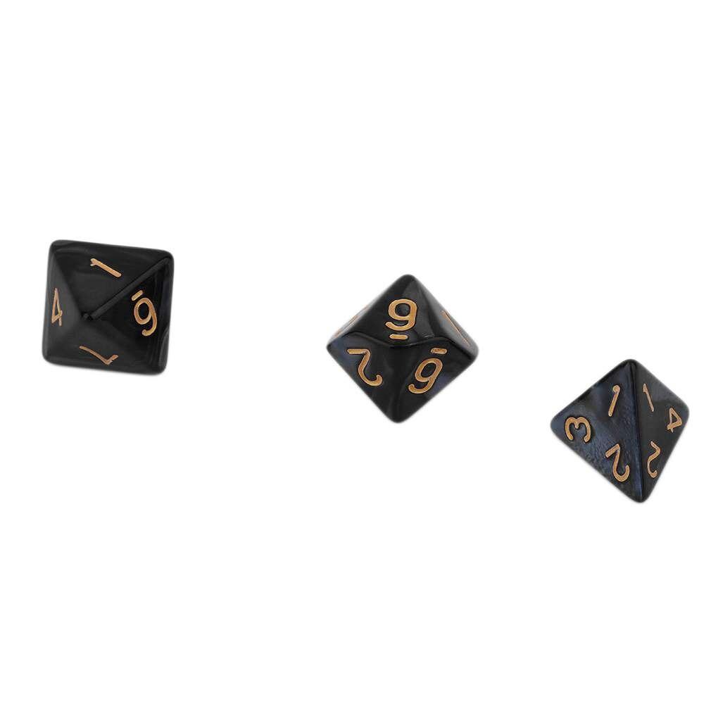 Ocday dados geométricos cor preta brilhante 7 pces conjunto criativo multi-facetado pérola gemmed acrílico Dice16-20mm