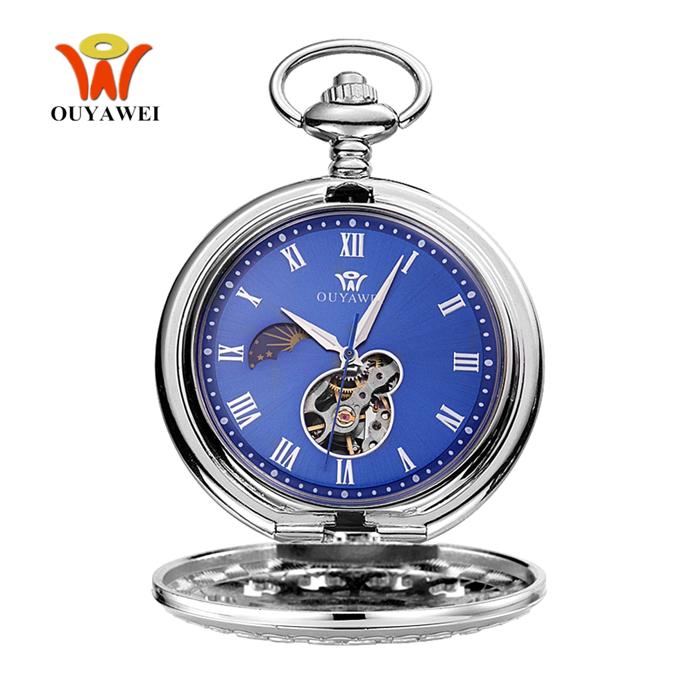 Montre Homme Relogio Fashion Mechanical Hand Wind Pocket Watch Men Male Skeleton Pendant Watch Full Steel Case Pocket Fob Watch