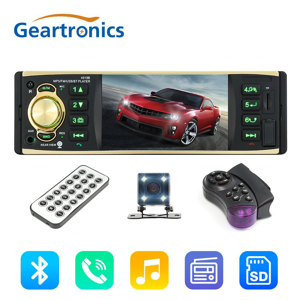 4.1 Inch 1 Din 12V Car Radio Stereo Player With Bluetooth Remote Control MP3 MP5 Car Audio Player USB AUX FM Radio 4019B серьги с кварцем и бриллиантами из желтого золота valtera 55039