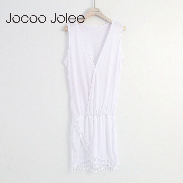 Jocoo Jolee Sexy Deep V-Neck Women Dress Fashion Hem Cross with Tassel Design Women Summer Beach Dress 2018 New Arrivals