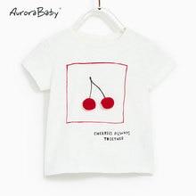 2018 Nyári Baby Girls Cherry nyomtatás Fehér póló Tee Tops Lányok Rövid ujjú póló Gyerekek Ruházat Kisgyerek Gyerekruha