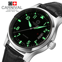 CANIVAL Fashion Automatic Mechanical Watches Mens Top Brand Luxury Leather Strap 30M Waterproof Watch Men Clock horloges mannen