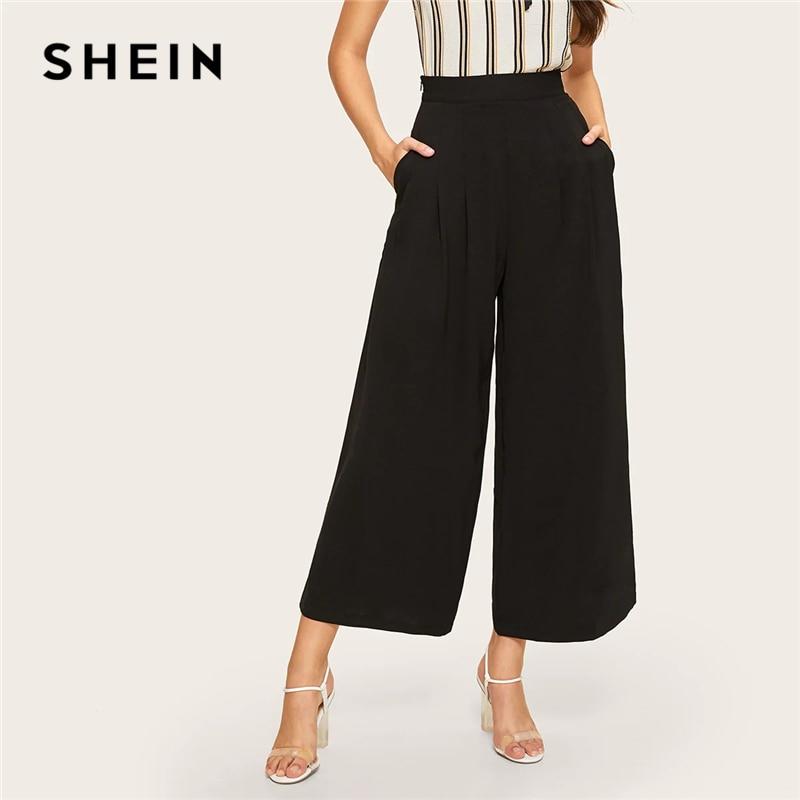 SHEIN Zip Side Slant Pocket Wide Leg Crop Pants 2019 Elegant Women Black Solid Spring Autumn Trousers Wide Leg Pants