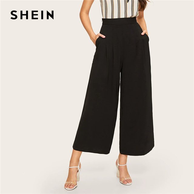 d71fc1065d SHEIN Zip Side Slant Pocket Wide Leg Crop Pants 2019 Elegant Women Black  Solid Spring Autumn Trousers Wide Leg Pants