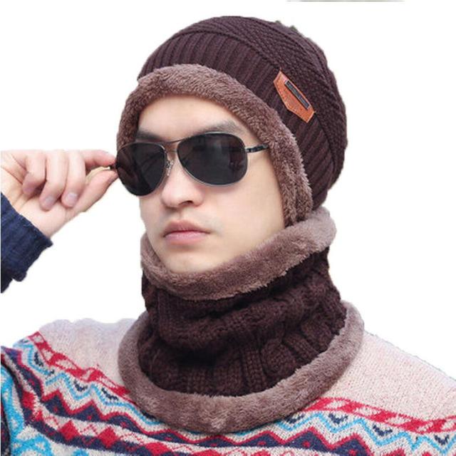 2016 Marca Gorros de Punto para hombres Sombrero Del Invierno Gorras Skullies Capó Sombreros de invierno Para Los Hombres de la Gorrita Tejida Caliente Baggy Sombrero de Punto y bufanda