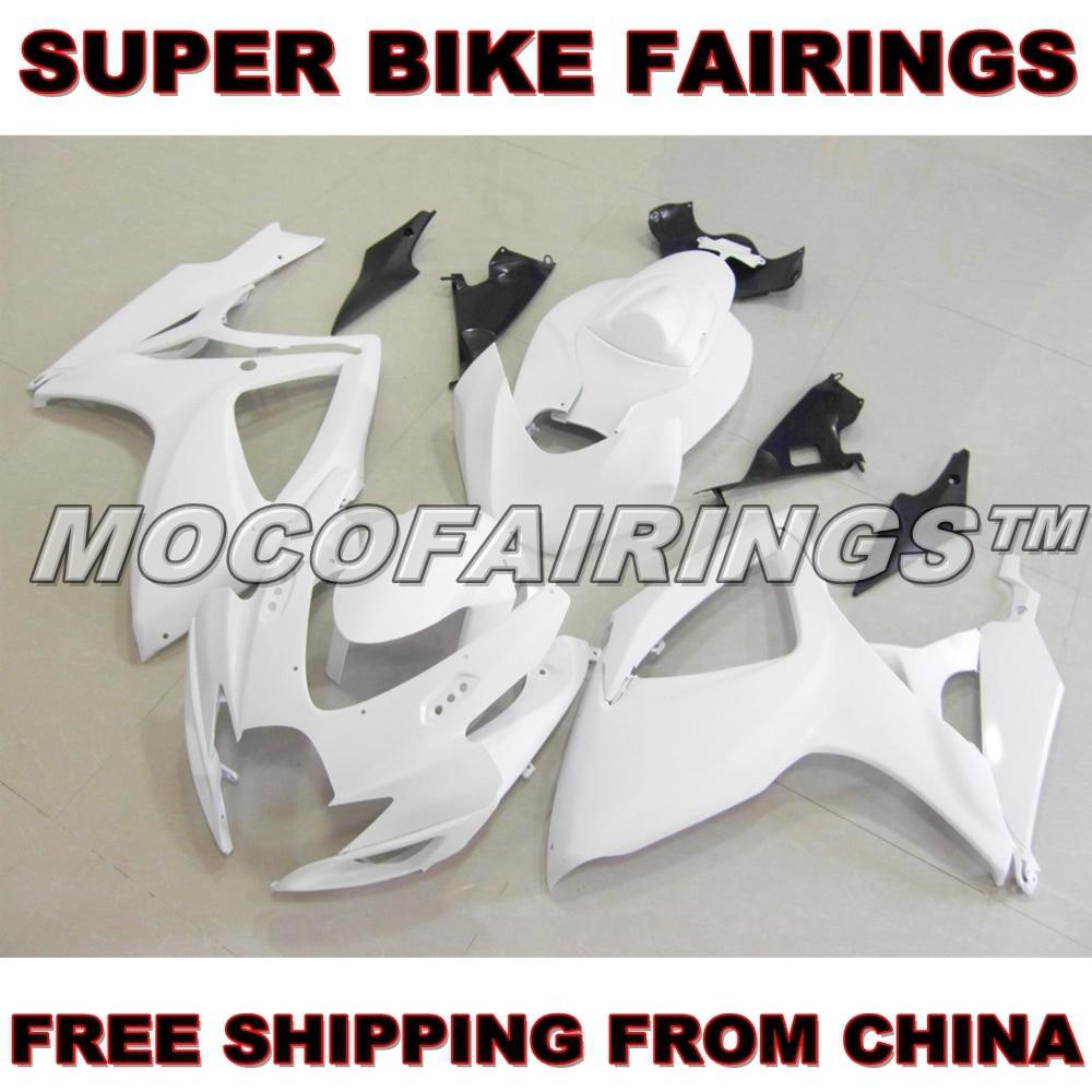 Motorcycle Unpainted ABS Fairing Kit For Suzuki GSXR GSX-R 750 600 2006 2007 K6 Fairings Kits Bodywork Pieces motorcycle fairings for suzuki gsxr gsx r 600 750 gsxr600 gsxr750 2006 2007 k6 06 07 abs plastic injection fairing bodywork kit