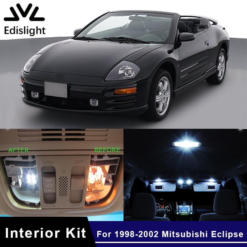 Edislight 10Pcs White Ice Blue LED Lamp Car Bulbs Interior Package Kit For 1998-2002 Mitsubishi Eclipse Dome Trunk Plate Light