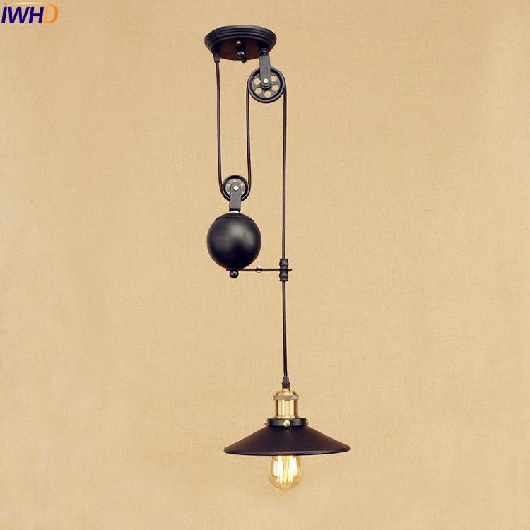IWHD Vintage Pulley Pendant Lights American Style Loft Industrial Pendant Lighting Fixture Vintage Lamp Luminaire Lamparas pulley pendant lamp light retro loft vintage industrial pulley pendant lamp industrial home lighting fixture e27 edison bulbs