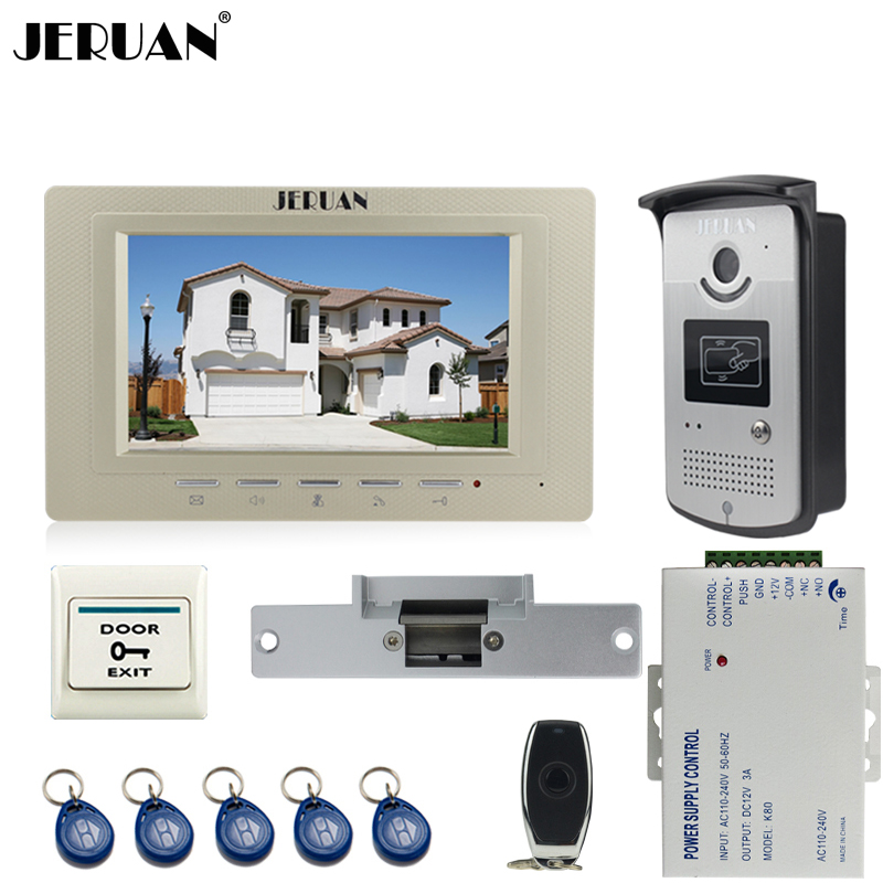 JERUAN Cheap 7 inch LCD video door phone Entry intercom system kit 700TVL RFID Access IR Night Vision Camera Cathode lock jeruan home 7 lcd screen video door phone entry intercom system kit 700tvl rfid access ir night vision camera exit button