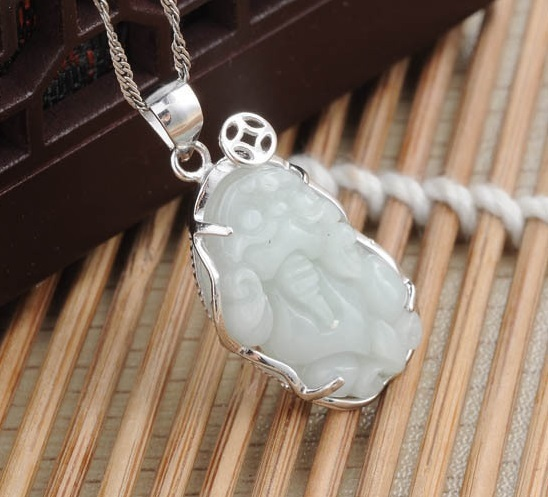 Punk Top Fashion Lovely Rich Pixiu Natural Stone Pendant, AA Burma Jade Pendant,925 Silver Necklaces Pendants for Best Friends