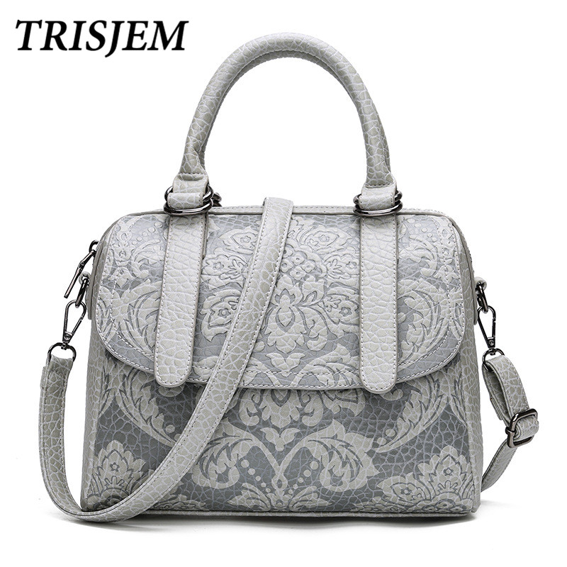Luxury Women Boston Bags Vintage PU Leather Tote Bag Female Embossed Designer Handbags Crossbody Bags For Women 2017 Sac a Main high quality pu leather sac a main women tote boston handbags luxury designer vintage ladies s shoulder bags crossbody doctor