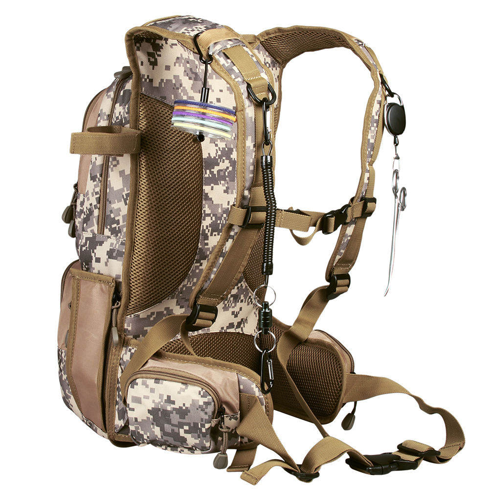 Camo Fly Fishing Back Pack Adjustable Size Outdoor Sports Fishing Bag General Size Mutiple Pocket Hiking
