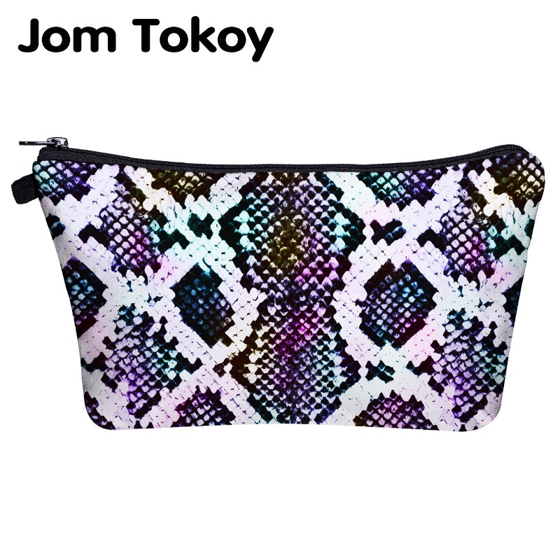 Jom Tokoy Cosmetic Bag Printing Serpentine Makeup Travel Bag Organizer Bag Women Beauty Bag