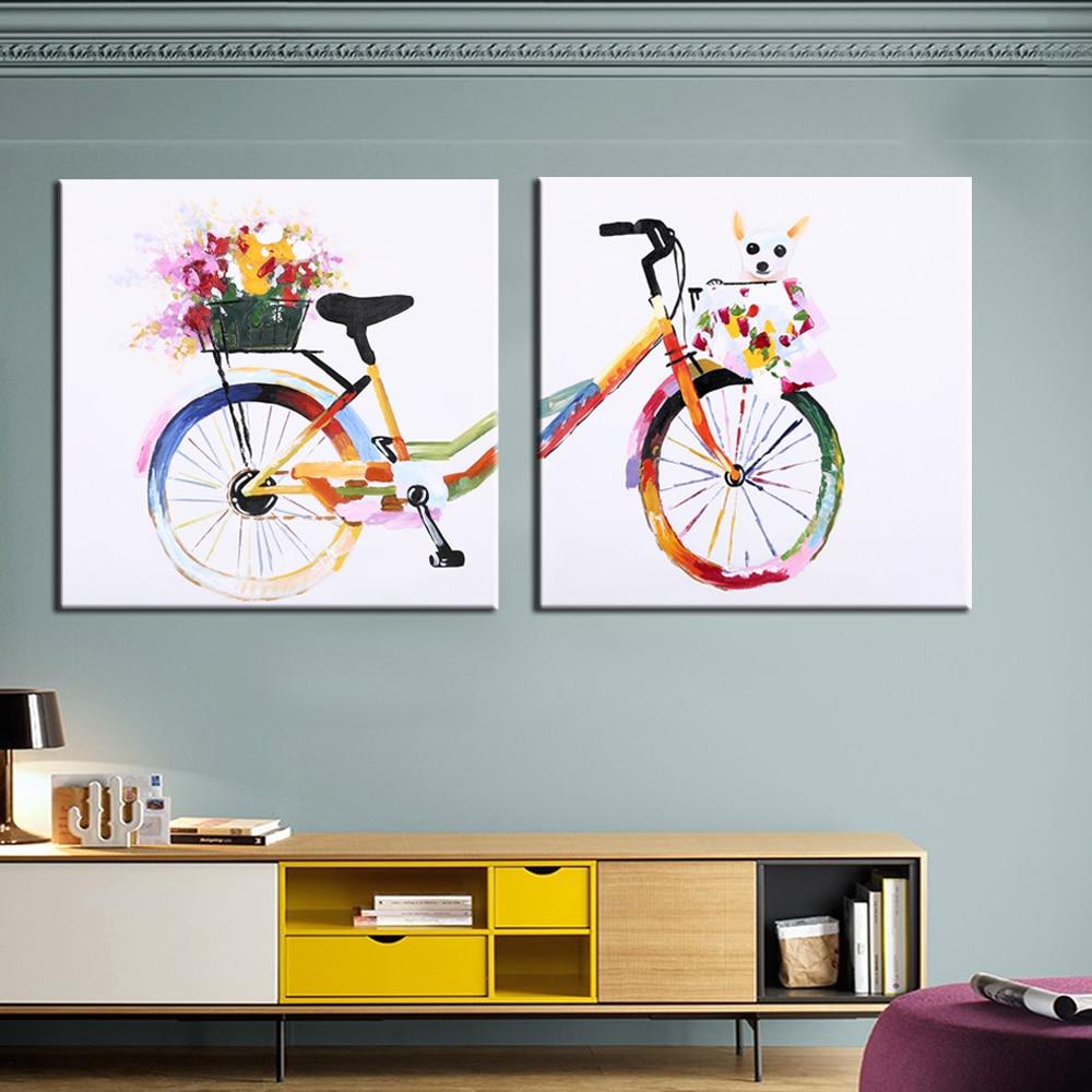 손으로 그린 현대 미술 2PCS 개 유화 벽 동물 - 가정 장식