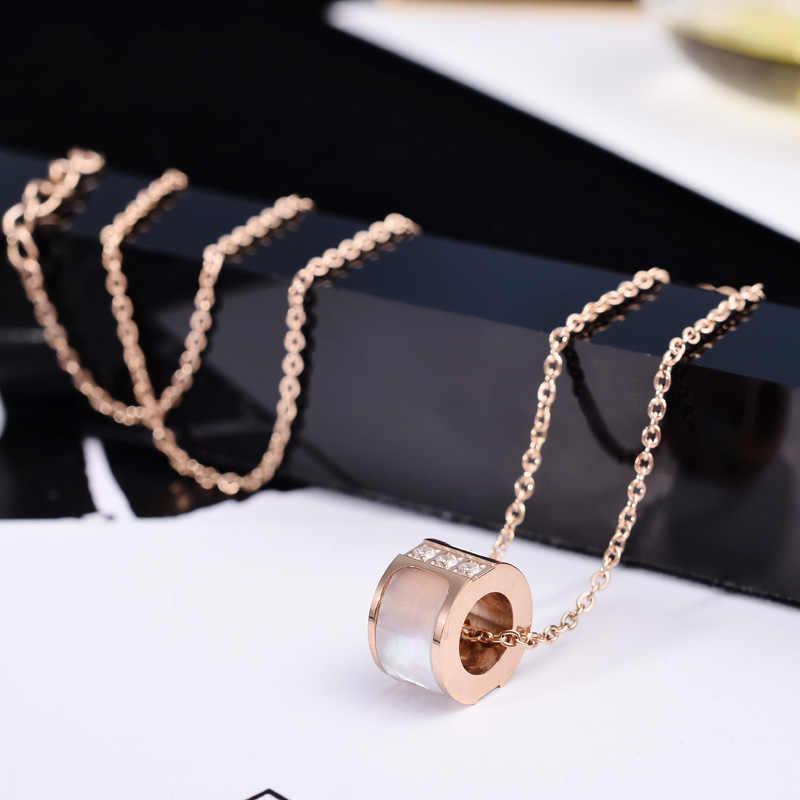 YUN RUO Thời Trang Người Phụ Nữ Thương Hiệu Đồ Trang Sức Rose Vàng Bạc Màu Vỏ tự nhiên Zircon CZ Inlay Necklace 316 L Thép Không Gỉ đồ trang sức
