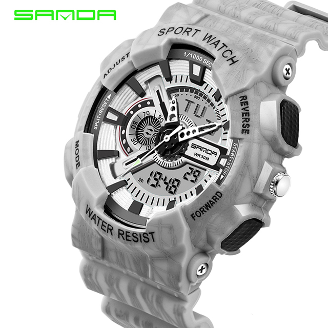 SANDA Brand Famous Men Watches Sport Casual Electronic Watch Women Waterproof G