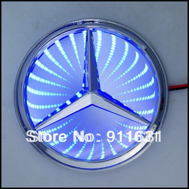 Hole Sale Car Blue 3D Metal Car Vehicle Automobile Logo Decal Sticker LED Light For BENZ Free Shipping