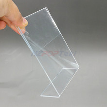 Acrylic T1.3mm Vertical Clear L Shape Plastic Table Sign Price Tag Label Display Paper Promotion Card Holders Stands 20pcs