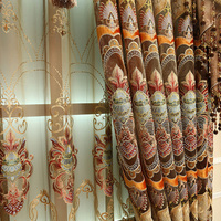 Luxury Europe Finished Rural Curtains Tulle Embroidered Curtains for Living Room Bedroom Window Curtains Valances Drapes
