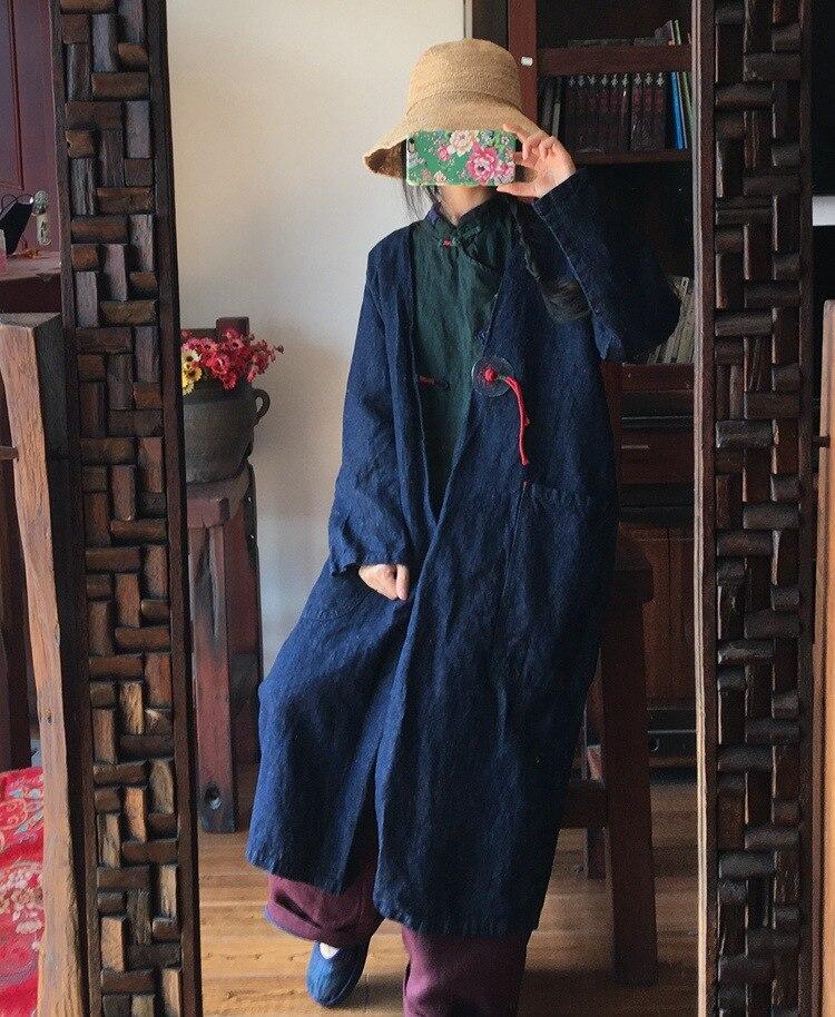 2019 vent Coupe Lin Manuel D340 Femmes Pour D'origine Cowboy Grande Colour Lâche Picture Broderie Taille Manteau Vêtements rgnH41qwzr
