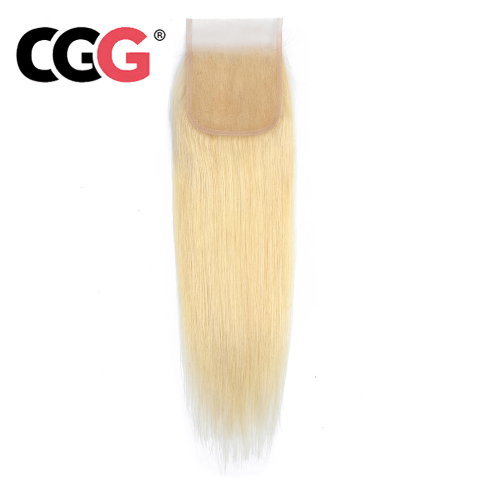 CGG Blonde Brazilian Hair 4 4 Lace Closure With Baby Hair 613 Straight Closure Human Hair