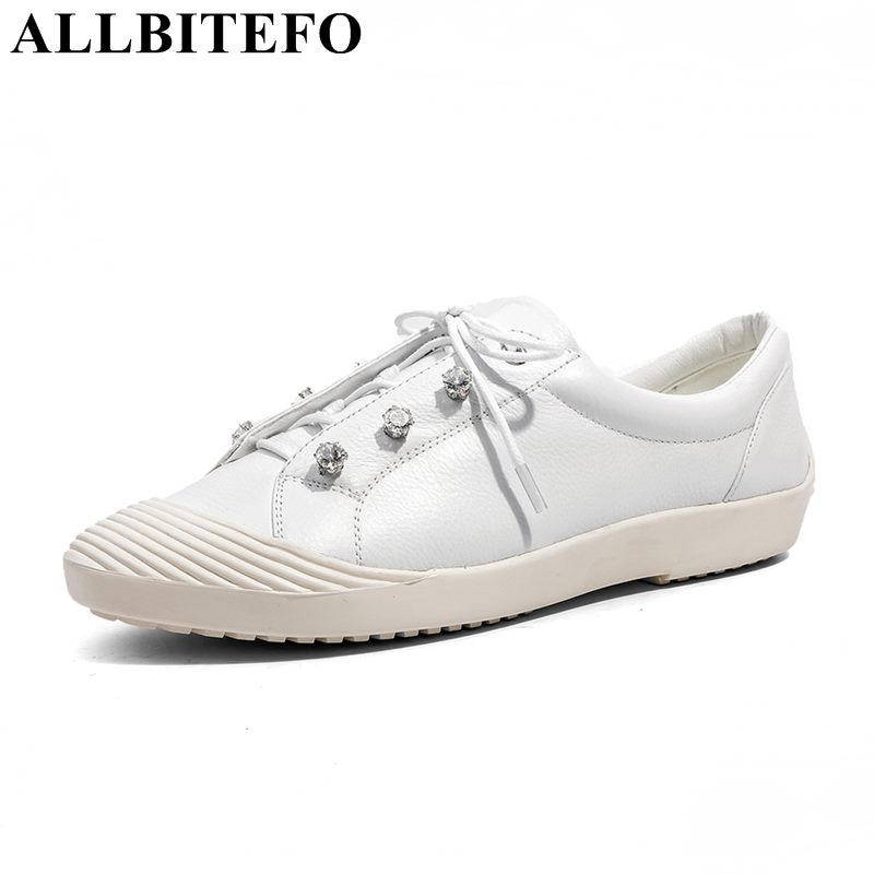 ALLBITEFO genuine leather Rhinestone casual and comfortable flat shoes new spring high quality women flats girls shoes Flattie e0980  high quality comfortable and